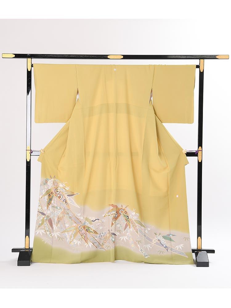 【高級色留袖レンタル】i-109 くすんだ黄緑 笹 MLサイズ 笹