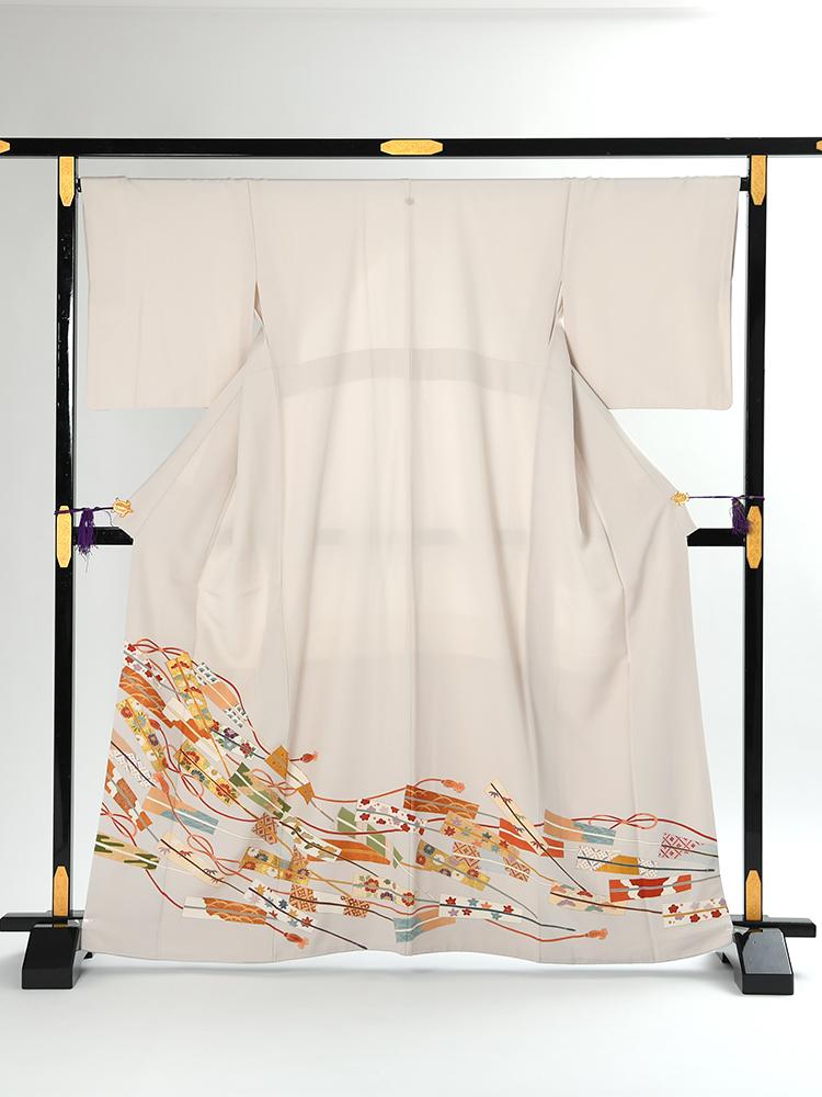 【高級色留袖レンタル】i-111 白グレー 扇子 Mサイズ 扇子