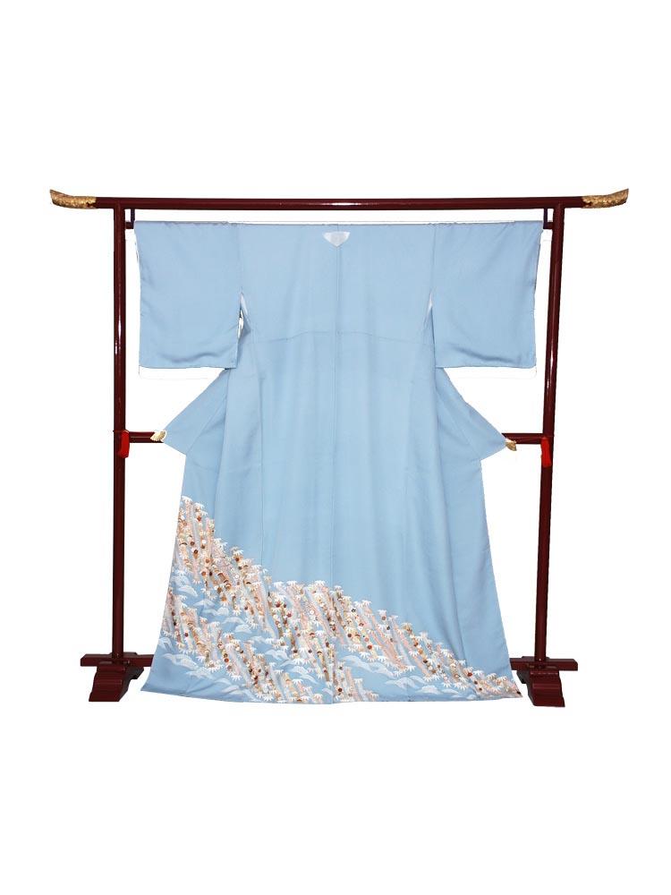 【高級色留袖レンタル】i-113 ブルー系 松竹梅 Mサイズ 松竹梅
