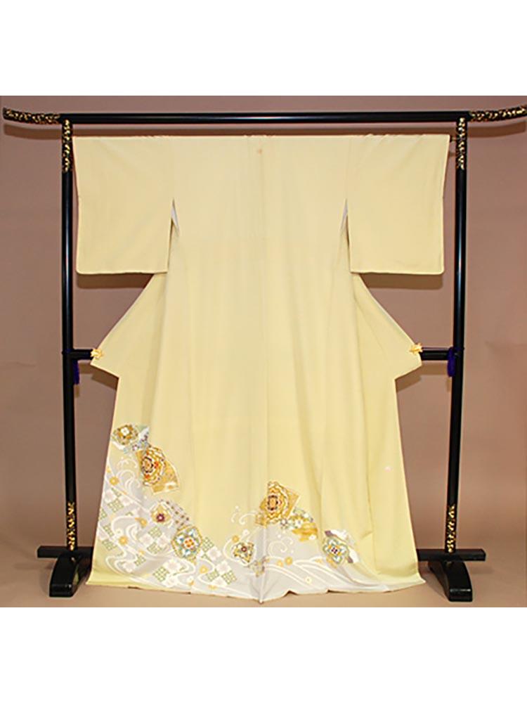 【高級色留袖レンタル】i-115 黄色 流水に華文 Mサイズ 華文