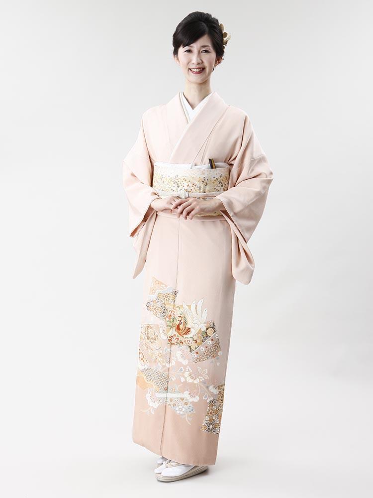 【高級色留袖レンタル】i-116 ピンクオレンジ 鳳凰 MSサイズ 鳳凰