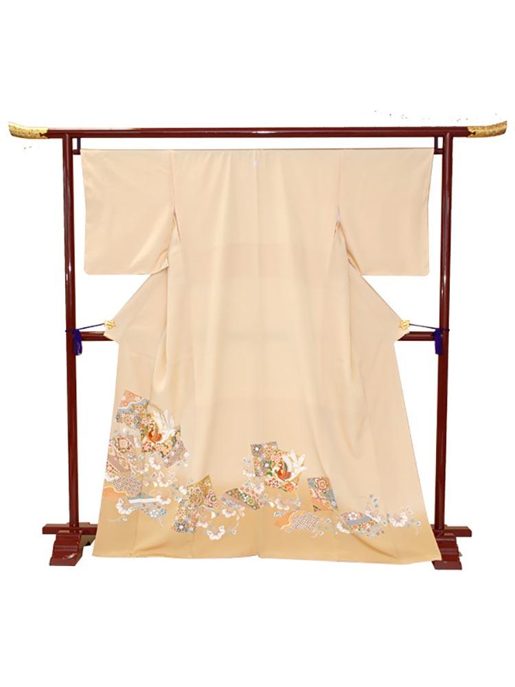 【高級色留袖レンタル】i-117 オレンジ 色紙取りに鳳凰 Mサイズ 鳳凰