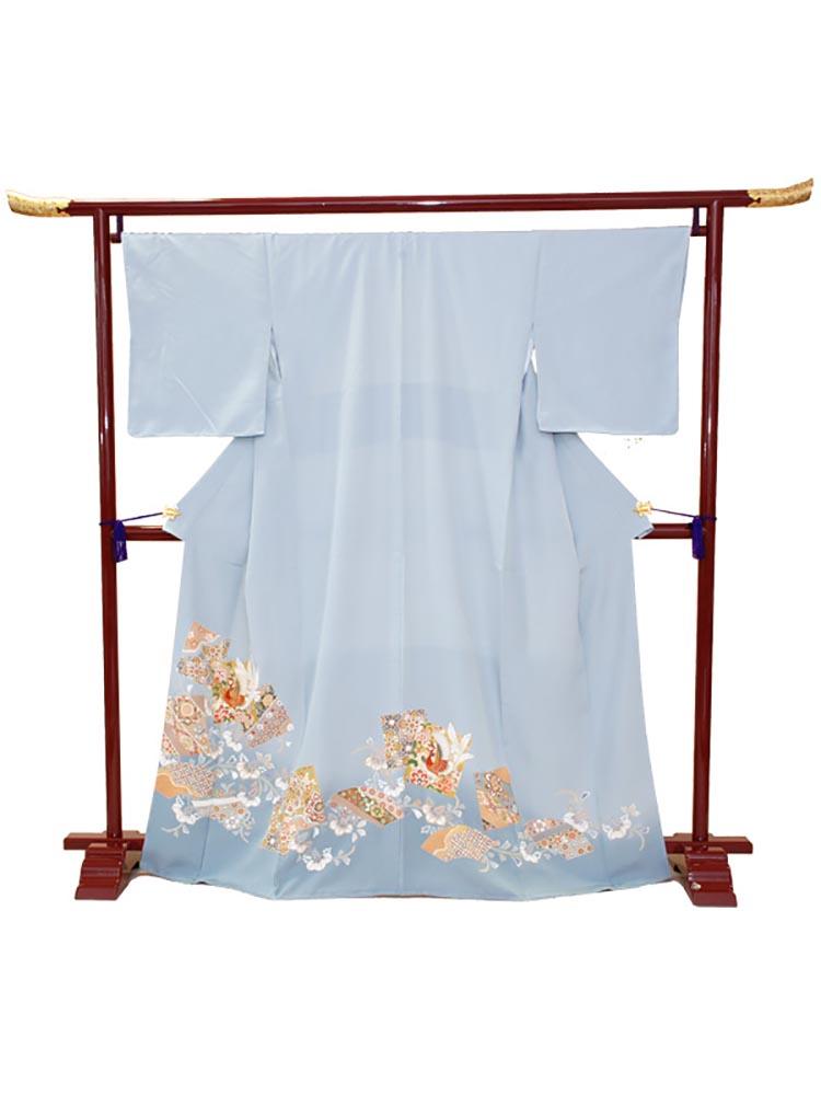 【高級色留袖レンタル】i-118 水色 色紙取りに鳳凰 Mサイズ 鳳凰