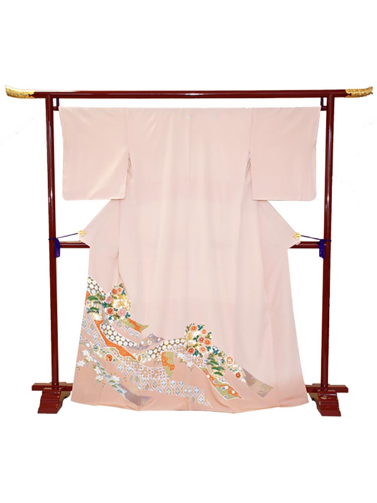 【高級色留袖レンタル】i-120 ピンクオレンジ 薬玉 Mサイズ 薬玉