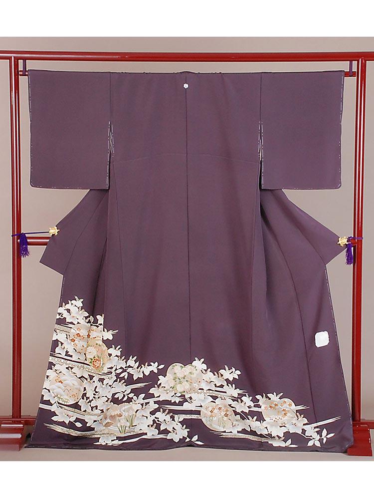 【高級色留袖レンタル】i-121 紫 四季の花 Mサイズ 四季の花