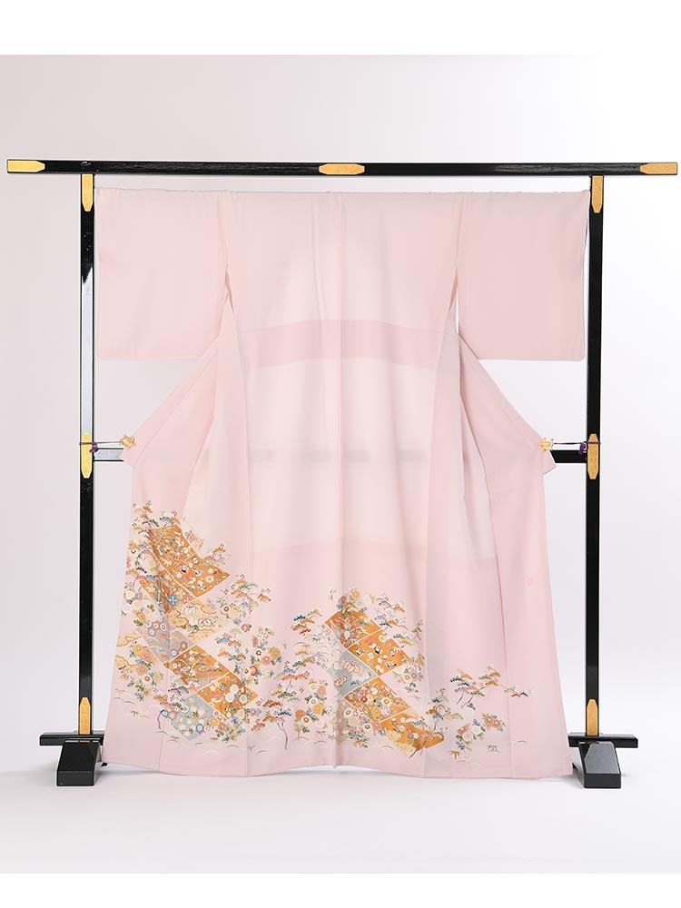 【高級色留袖レンタル】i-123 ピンク 宝尽くし LLサイズ 宝尽くし