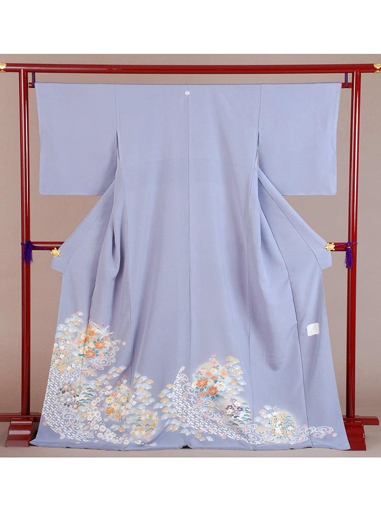 【高級色留袖レンタル】i-124 藤色 花々 MLサイズ 花々