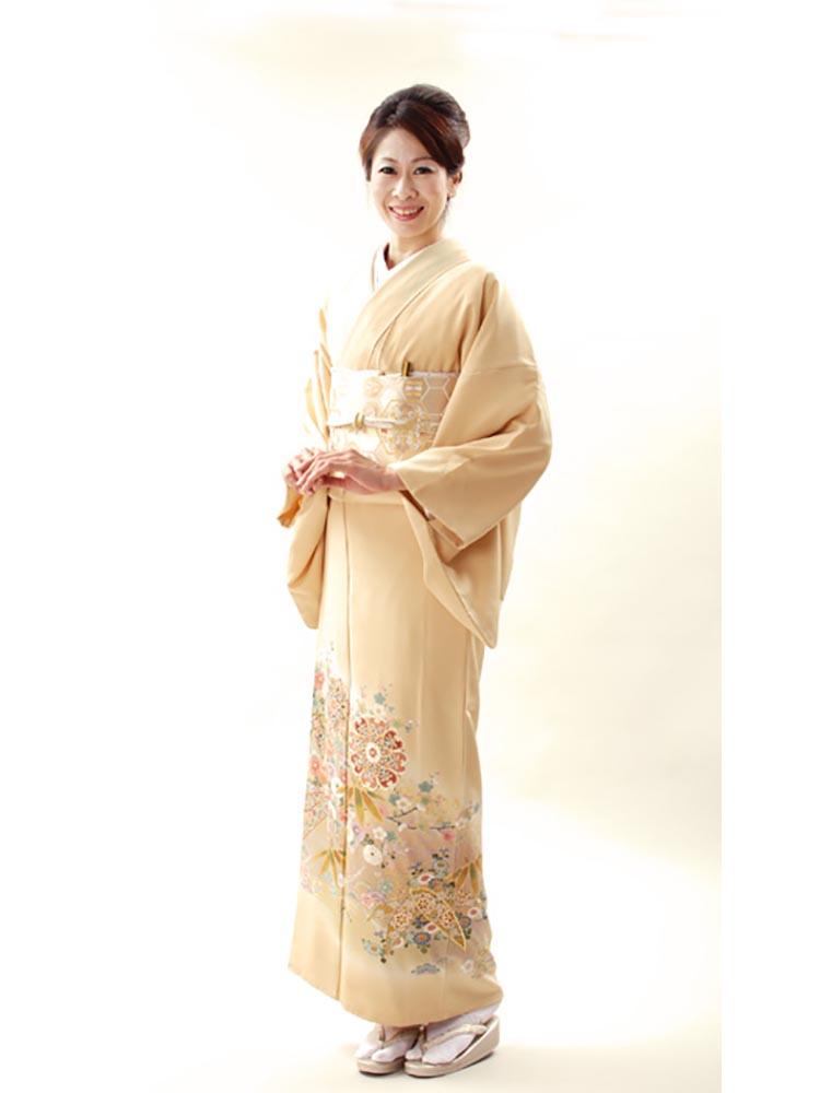 【高級色留袖レンタル】I-126 黄色系 華文 笹 Lサイズ 笹に華文