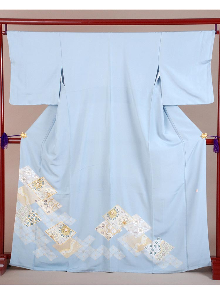 【高級色留袖レンタル】i-127 水色 菱に華文 MLサイズ 菱