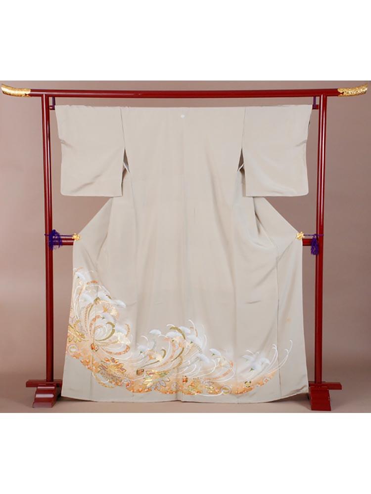 【高級色留袖レンタル】i-128 グレーグリーン 乱菊 MLサイズ 乱菊