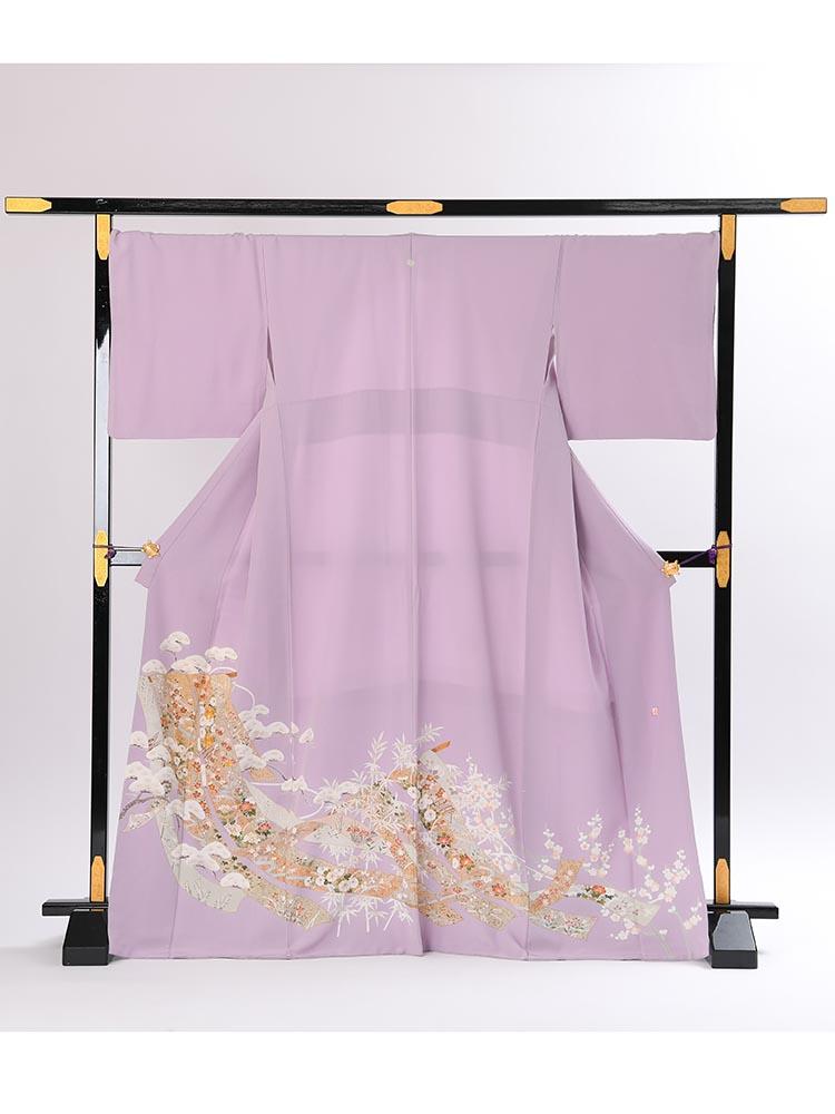 【高級色留袖レンタル】i-131 明るい藤色 松 LLサイズ 松