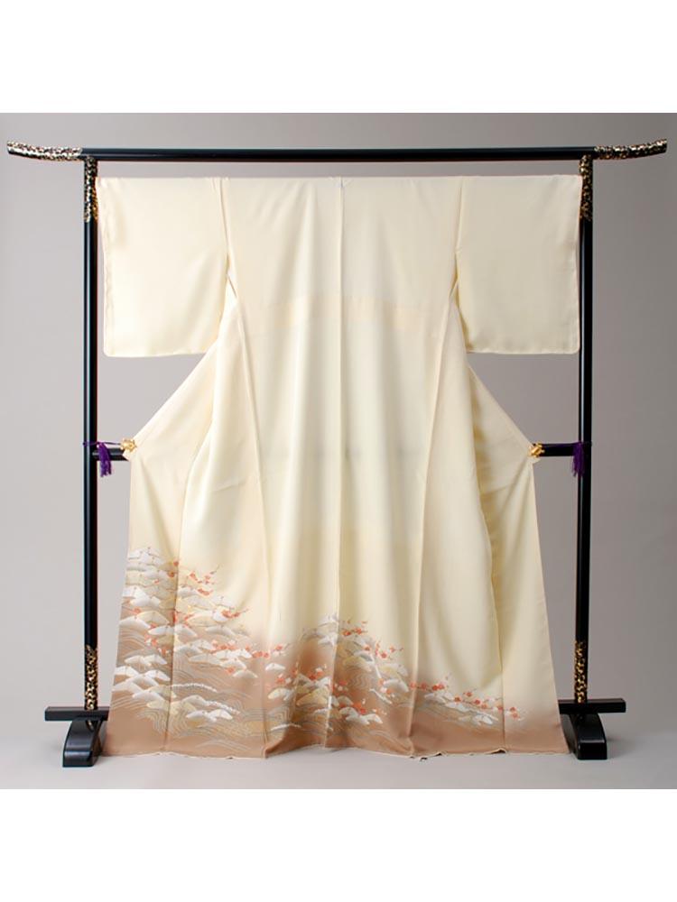 【高級色留袖レンタル】i-134 淡い黄色 松・梅 LOサイズ 松