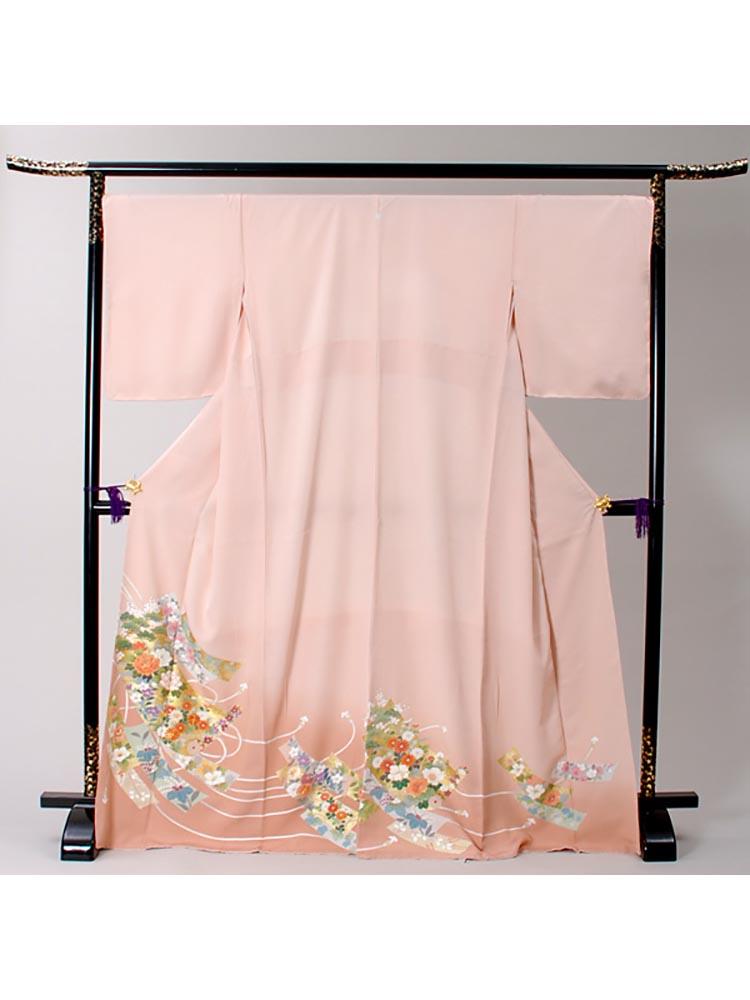 【高級色留袖レンタル】i-136 ピンク 短冊に組紐 LOOサイズ 短冊