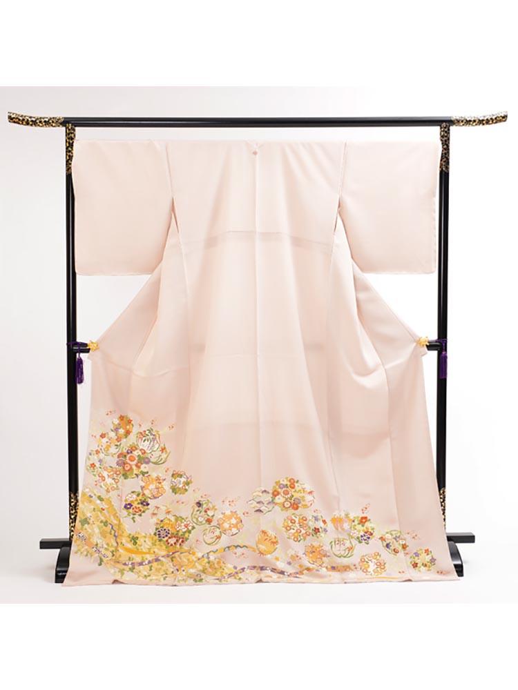 【高級色留袖レンタル】I-145 ピンク 花々 LLサイズ 花々