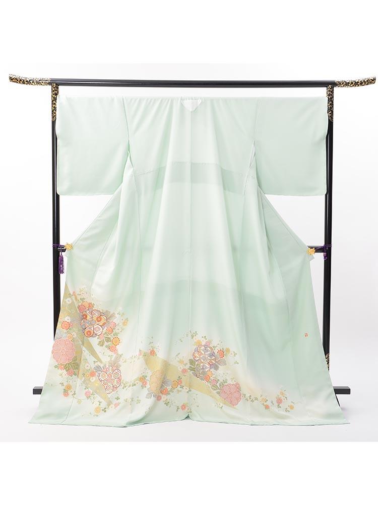 【高級色留袖レンタル】I-150 淡いグリーン 花々 XOサイズ 花々