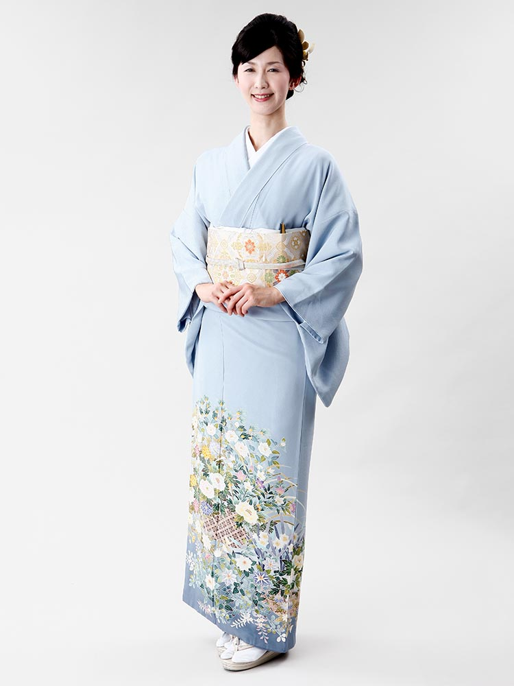 【高級色留袖レンタル】I-401 本加賀友禅 水色 四季の花 MLサイズ 四季の花