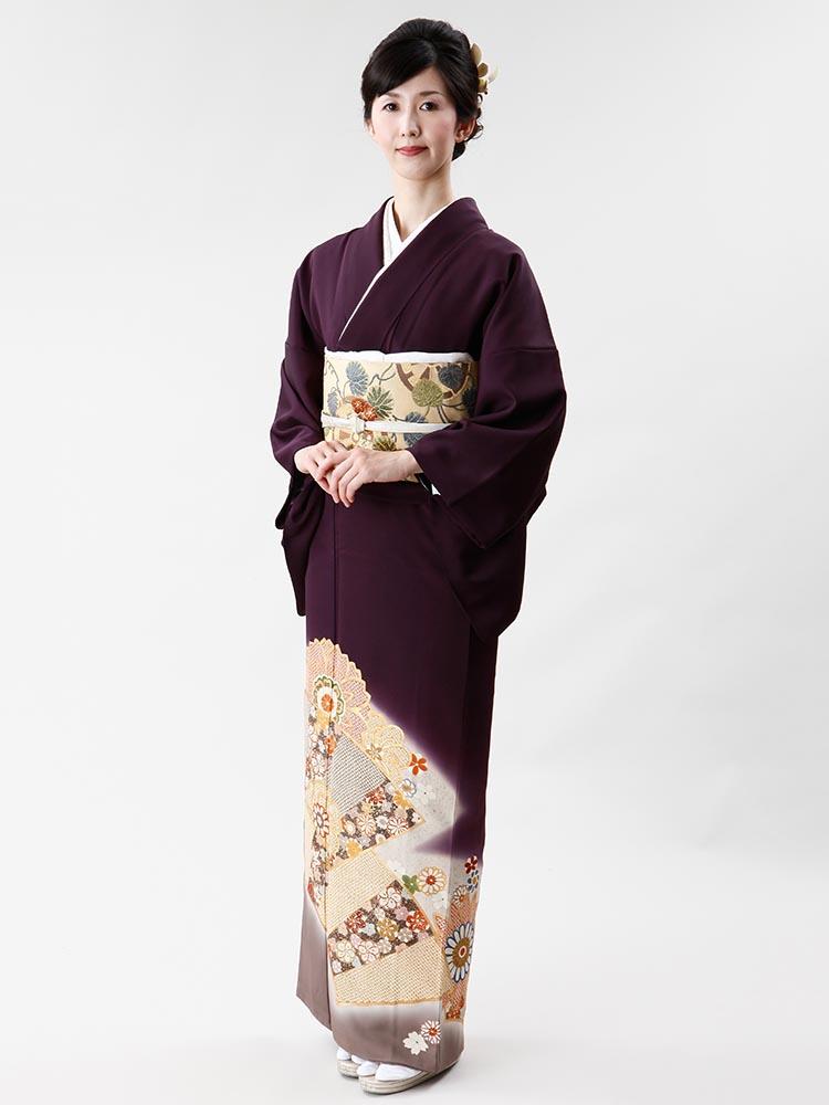 【高級色留袖レンタル】I-601 しょうざん 紫紺色 MLサイズ 地紙に疋田