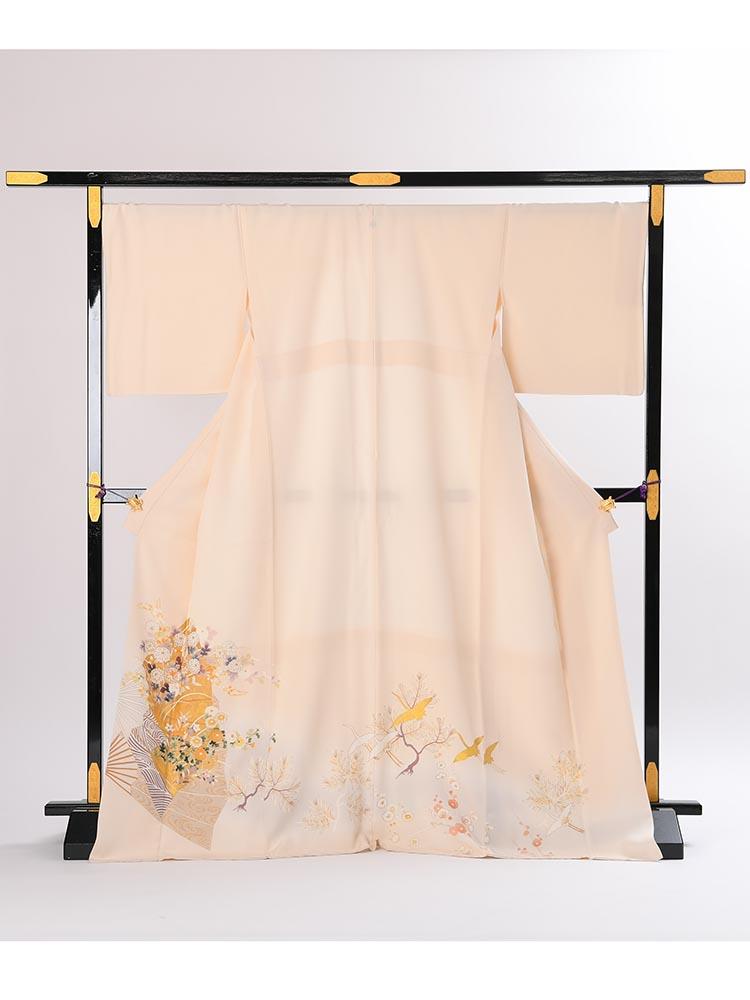 【高級色留袖レンタル】I-608 菱健謹製 クリーム 檜扇に四季の花 LLサイズ 檜扇