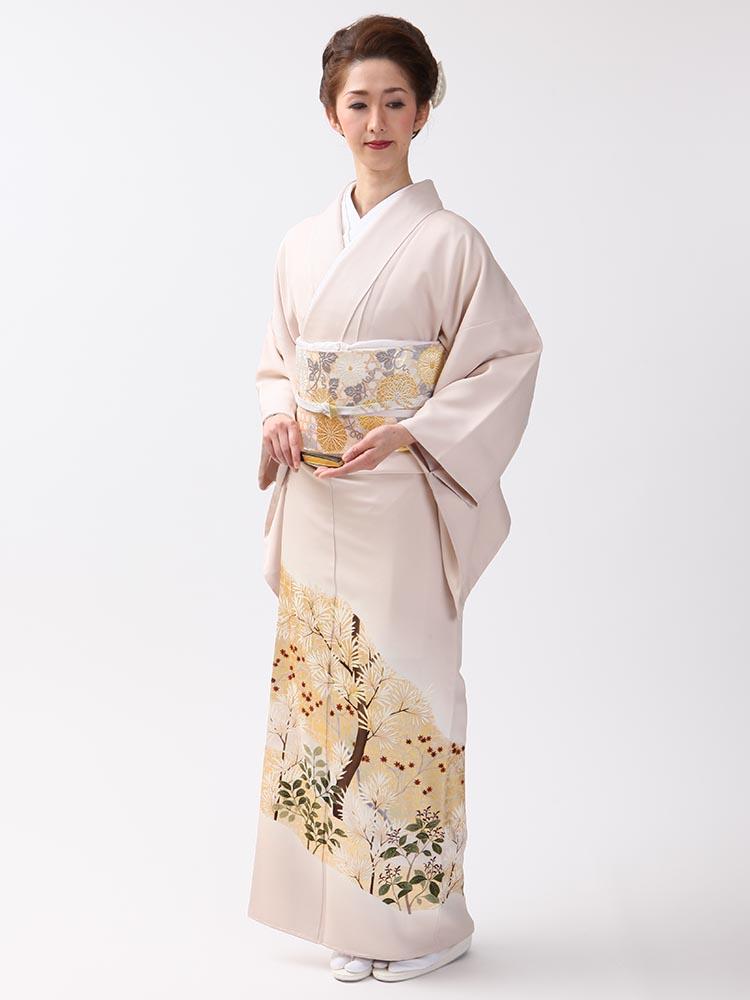 【高級色留袖レンタル】I-613 最高級京友禅 肌色 MLサイズ 草花