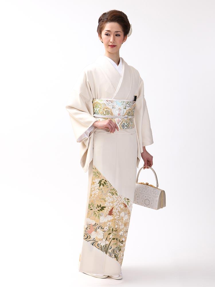 【高級色留袖レンタル】I-614 最高級京友禅 白磁色 Mサイズ 四季の花