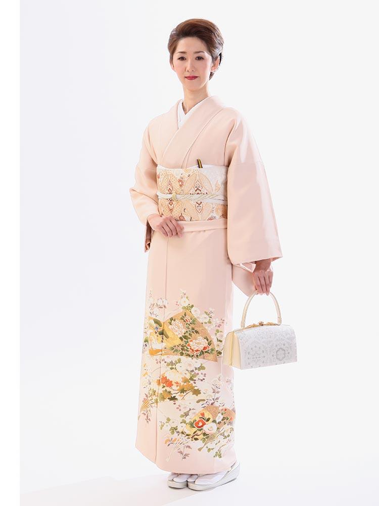 【高級色留袖レンタル】I-615 ピンク 末広に花々 MLサイズ 中啓文