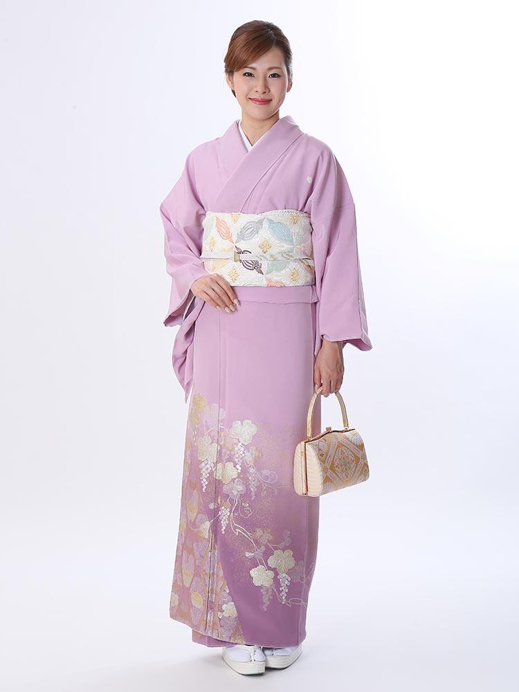 【高級色留袖レンタル】I-617 山口美術織物 葡萄唐草 ピンク紫 LLサイズ 葡萄唐草