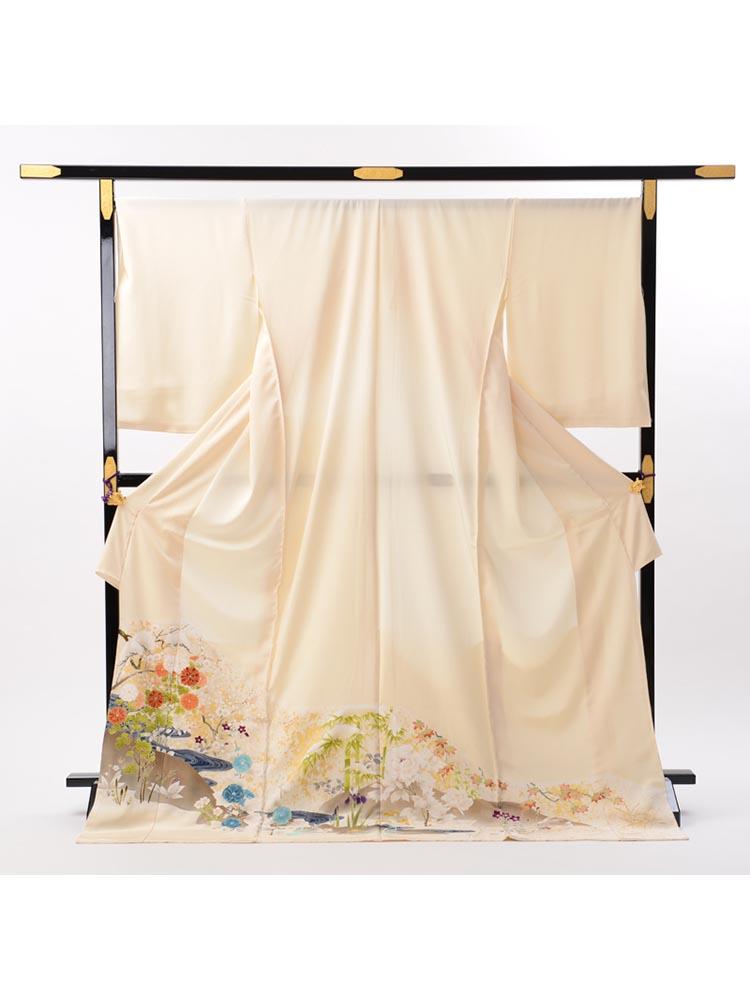 【最高級色留袖レンタル】I-625 成謙謹製 クリーム 四季の花 LLサイズの色留袖フルセットレンタル