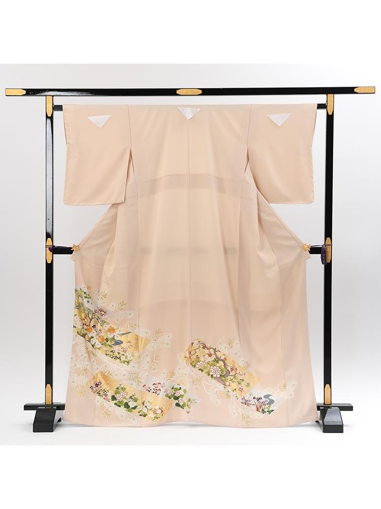 【高級色留袖レンタル】I-633 ベージュ系 四季の花 MSサイズ 四季の花