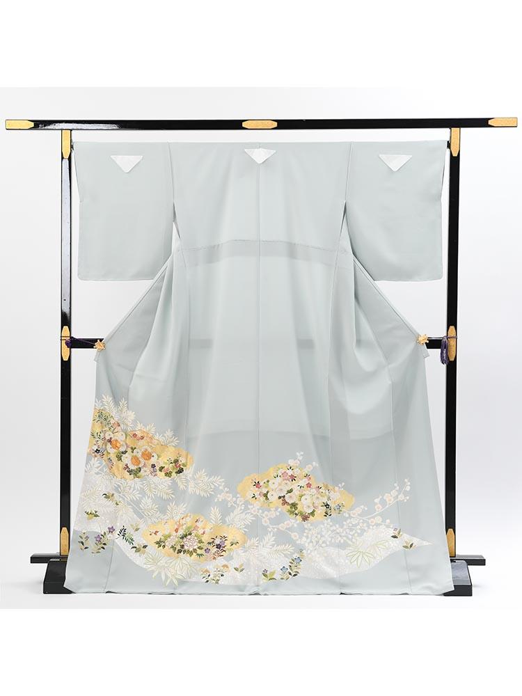 【高級色留袖レンタル】I-634 落ち着いた水色 雲取りに四季の花 MLサイズ 四季の花