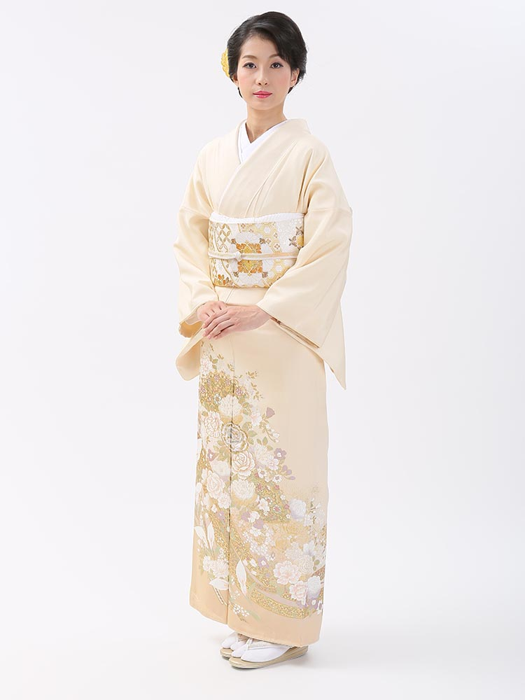 【高級色留袖レンタル】I-yumi-252 桂由美ブランド クリーム MLサイズ 薔薇