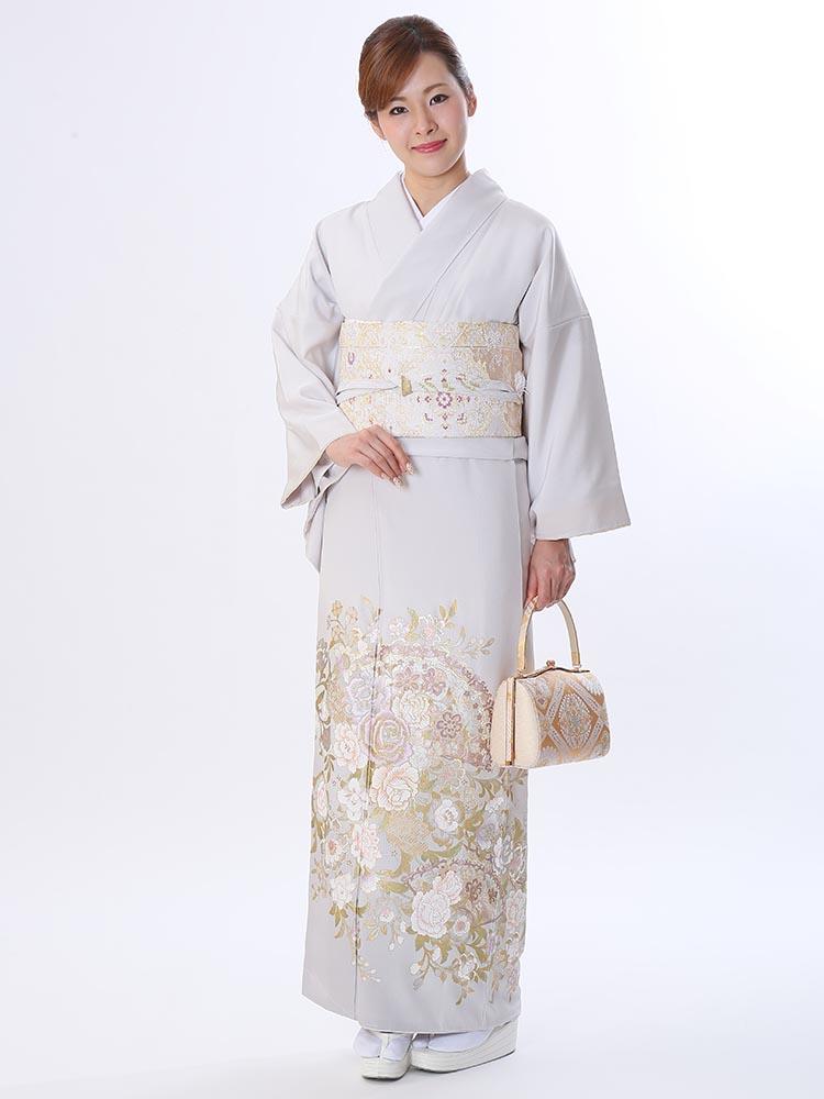 【高級色留袖レンタル】I-yumi-254 桂由美ブランド グレー MLサイズ 薔薇