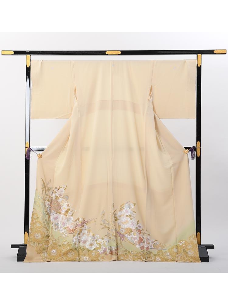 【高級色留袖レンタル】I-yumi-255 桂由美ブランド クリーム バラ Lサイズ 薔薇