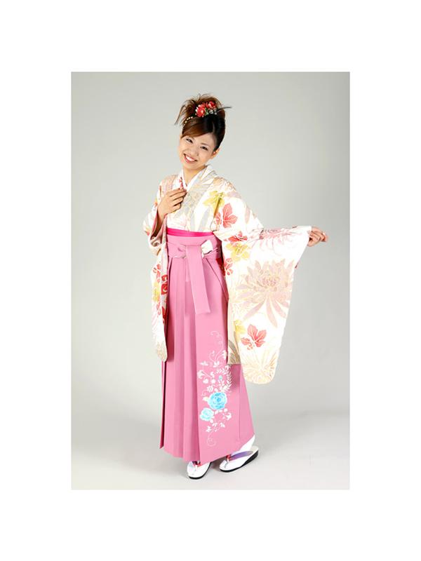 【高級卒業式袴レンタル】2-13 卒業式の袴レンタル・正絹二尺袖着物「白地 菊と葉」 サイズ 菊