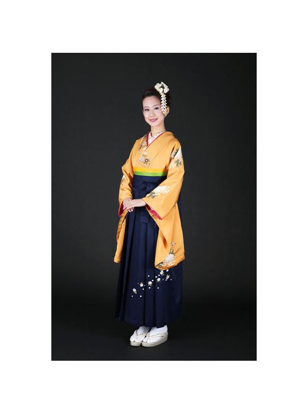 【高級卒業式袴レンタル】2-18 卒業式の袴レンタル・正絹二尺袖着物「辛子色 菊柄」 サイズ 菊