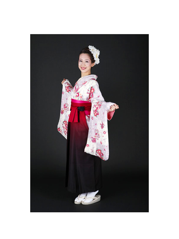 【高級卒業式袴レンタル】2-2 卒業式の袴レンタル・正絹二尺袖着物「藤色と白地の市松 花柄」 サイズ 花柄