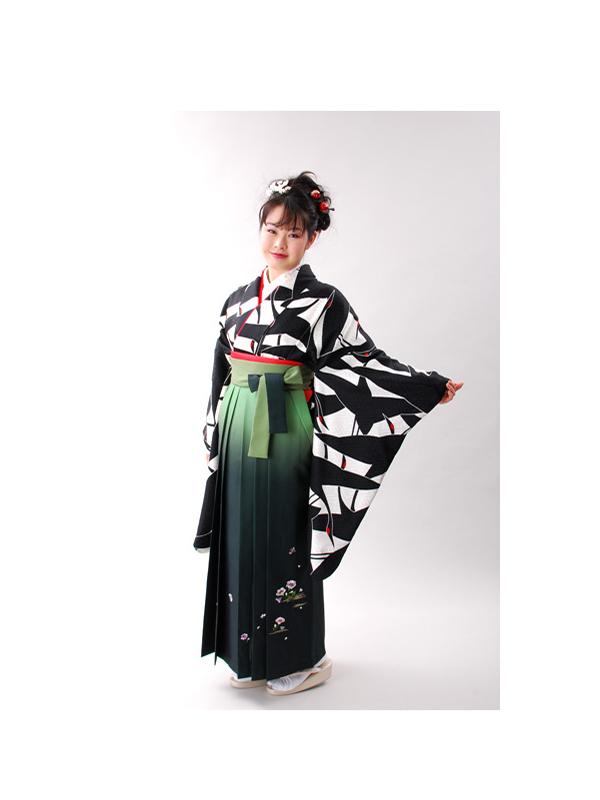 【高級卒業式袴レンタル】2-29 卒業式の袴レンタル・正絹二尺袖着物「白黒鶴の総柄」 サイズ 鶴