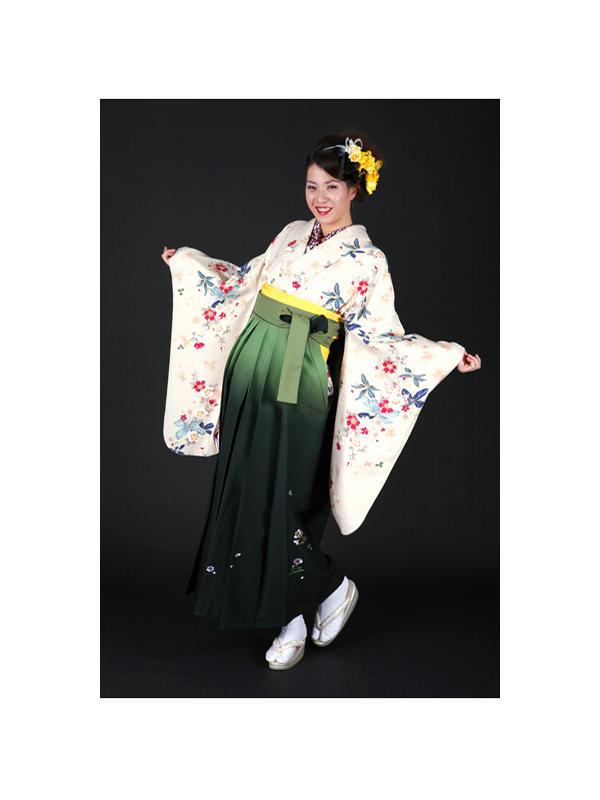 【高級卒業式袴レンタル】2-3 卒業式の袴レンタル・正絹二尺袖着物「淡いグレー地 花柄」 サイズ 花柄
