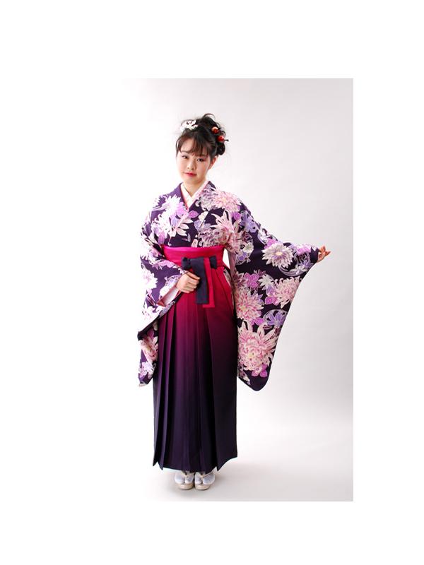 【高級卒業式袴レンタル】2-32 卒業式の袴レンタル・正絹二尺袖着物「紫地 菊と花柄」 サイズ 菊