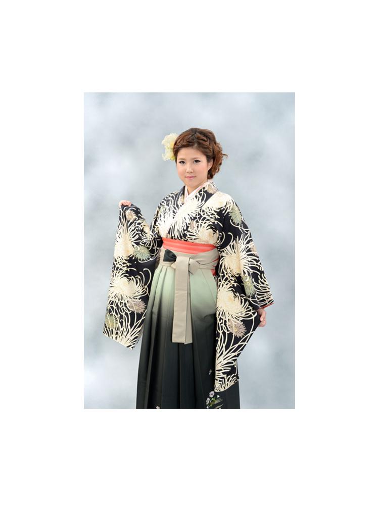 【高級卒業式袴レンタル】2-33 卒業式の袴レンタル・正絹二尺袖着物「黒地 乱菊」 サイズ 乱菊