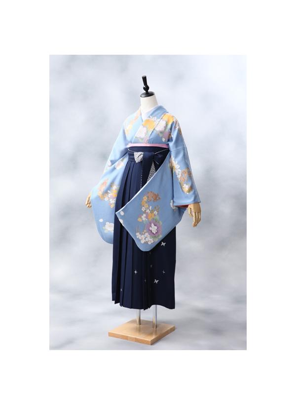 【高級卒業式袴レンタル】2-35 卒業式の袴レンタル・正絹二尺袖着物「明るい水色 古典花柄」 サイズ 花柄