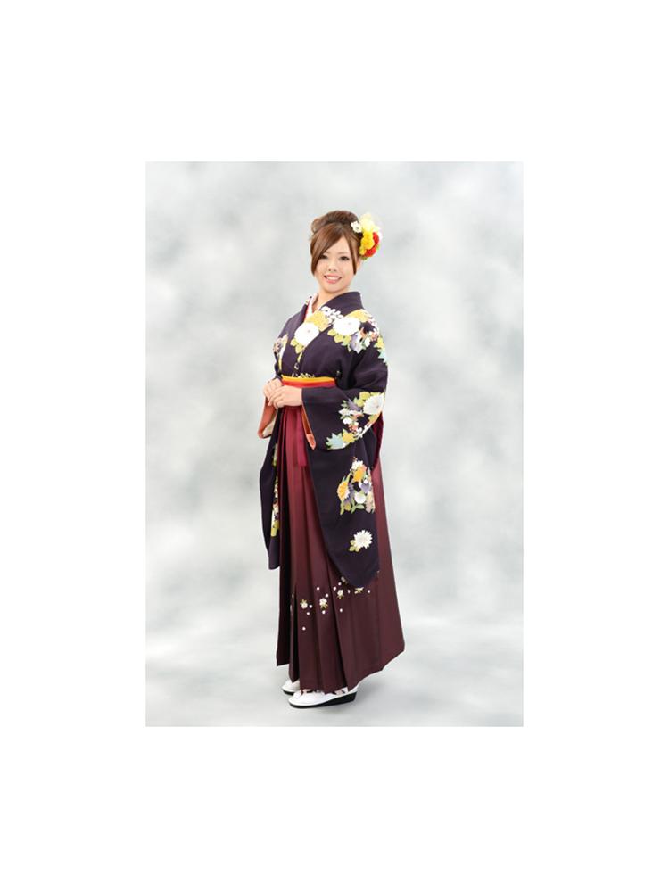【高級卒業式袴レンタル】2-36 卒業式の袴レンタル・正絹二尺袖着物「黒地 古典花柄」 サイズ 花柄
