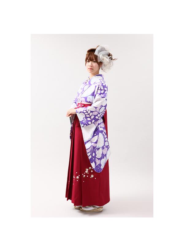 【高級卒業式袴レンタル】2-37 卒業式の袴レンタル・正絹二尺袖着物 「 淡い青紫地 葵柄」 サイズ 葵