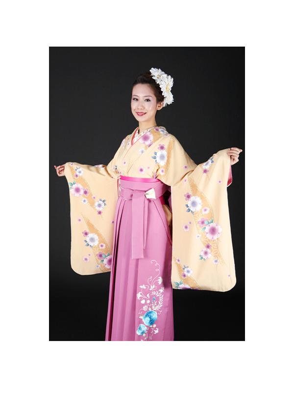 【高級卒業式袴レンタル】2-4 卒業式の袴レンタル・正絹二尺袖着物「淡い黄色地 花柄」 サイズ 花柄