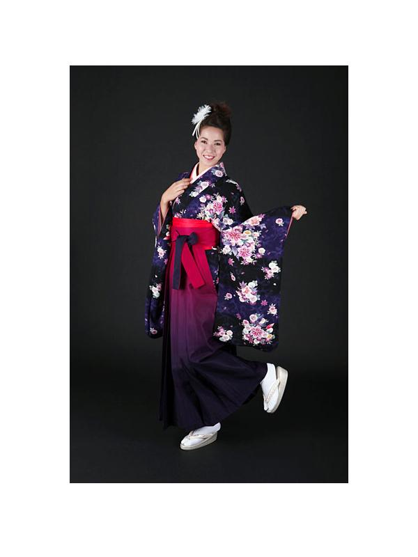 【高級卒業式袴レンタル】2-7 卒業式の袴レンタル・正絹二尺袖着物「黒と紺の市松 花柄」 サイズ 花柄