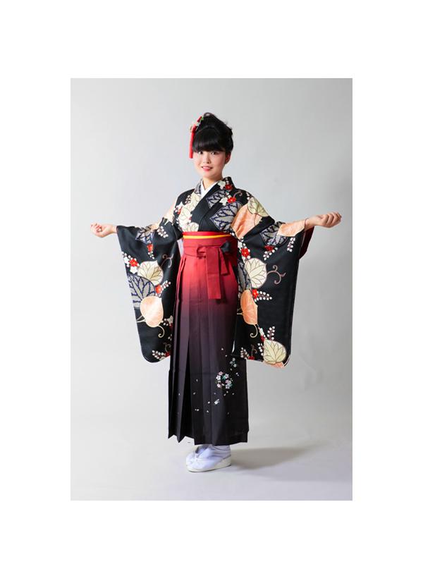 【高級卒業式袴レンタル】2-S1 卒業式の袴レンタル・正絹二尺袖着物「黒地 葵柄」 サイズ 葵