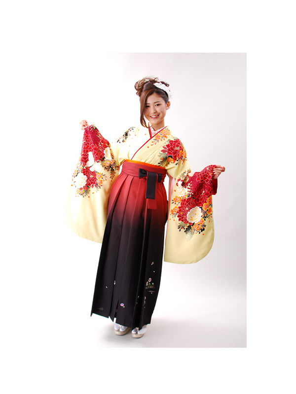 【高級卒業式袴レンタル】2p-17 クリーム地 赤い洋花 サイズ 洋花
