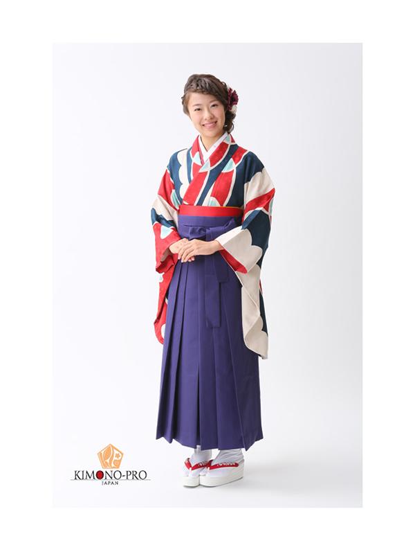 【高級卒業式袴レンタル】2p20 白・紺・赤の幾何学模様 サイズ 幾何学模様