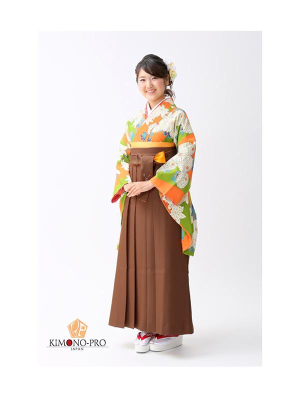 【高級卒業式袴レンタル】2p21 橙と抹茶の縦縞 菊花 サイズ 縦縞・菊花