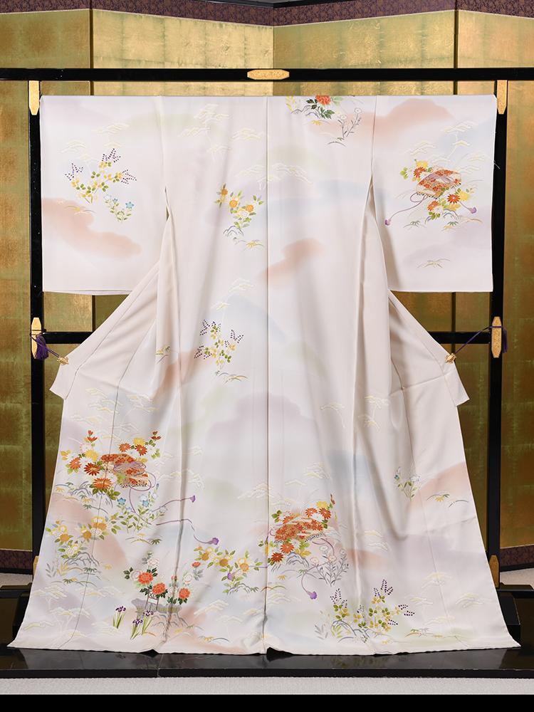 【高級訪問着オーダーレンタル】品番3170820 未仕立ての訪問着・菱健謹製「四季の花・文箱柄」