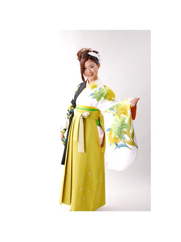 【高級卒業式袴レンタル】501 白と黒 百合柄 サイズ 百合